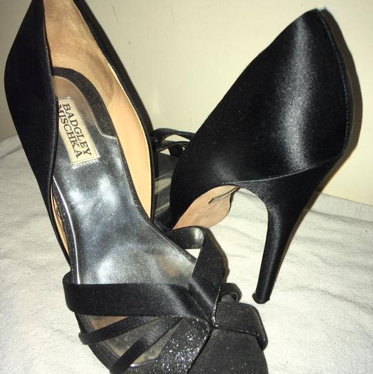 Badgley Mischka Open Toe Satin Sparkle Black Formal