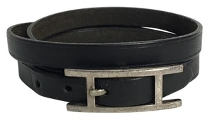 Hermès Authentic Hermes Black Leather H Buckle Wrap Bracelet