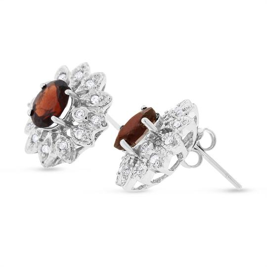 Other 2.50 TCW Gorgeous Natural Diamond & Garnet Earrings In Solid 14k White