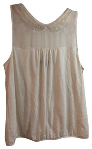 American Eagle Outfitters Lace Sheer Gold Florallace Top White