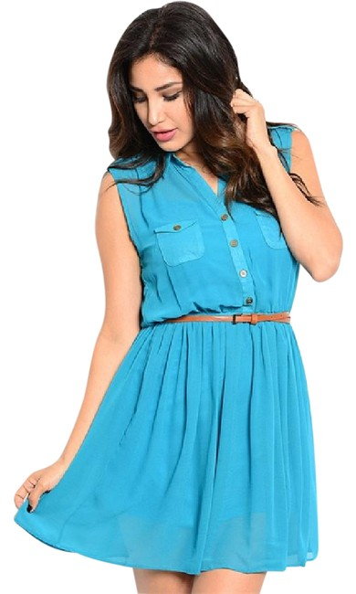 Preload https://img-static.tradesy.com/item/20570868/blue-button-neckline-pocket-front-belted-chiffon-sleeveless-short-casual-dress-size-12-l-0-1-650-650.jpg