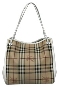 Burberry Haymarket Tote in White
