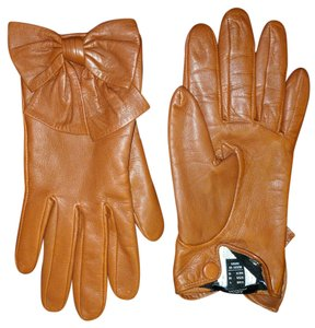 Mango Bow Leather Gloves
