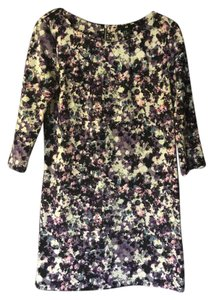 H&M short dress purple and grey floral Shift 3/4 Sleeve on Tradesy