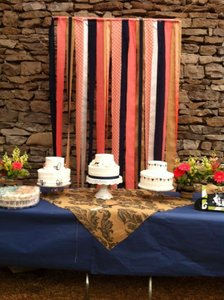 Coral Navy Burlap Fabric Strips Backdrop Reception Decoration