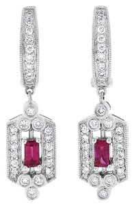 Other 0.75 CT Natural Diamond & Ruby Drop Dangle Earrings in Solid 14k White