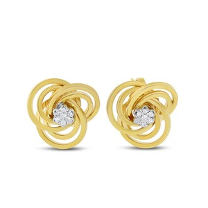 Other 0.15 CT Natural Diamond Twisted Knotted Earrings in Solid 14k Yellow