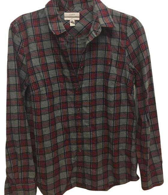 Preload https://img-static.tradesy.com/item/20570969/jcrew-grey-and-wine-flannel-button-up-button-down-top-size-4-s-0-1-650-650.jpg
