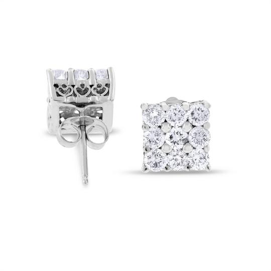 Other 1.66 CT Dazzling Natural Diamond Square Stud Earrings in Solid 14k