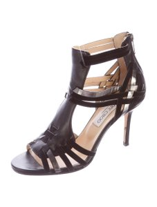 Jimmy Choo Leather Strappy Stiletto Black & Gunmetal Sandals