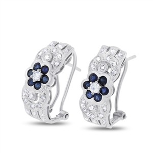 Other 0.75 CT Natural Diamond & Sapphire Floral Earrings in Solid 14k White