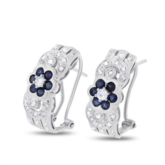 Preload https://img-static.tradesy.com/item/20570994/075-ct-natural-diamond-and-sapphire-floral-in-solid-14k-white-earrings-0-0-540-540.jpg