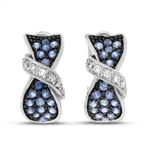 Other 1.75 CT Natural Diamond & Sapphire Bow Earrings in Solid 14k White