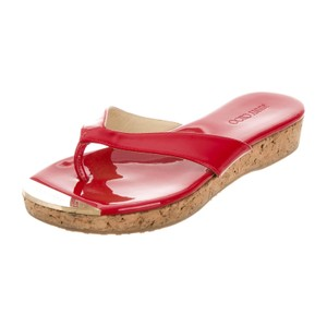 Jimmy Choo Leather Summer Spring Red Patent & Cork Sandals