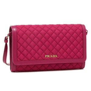 Prada Quilted Pink Nylon And Soft Calf Leather Crossbody Wallet Bag 1M1437