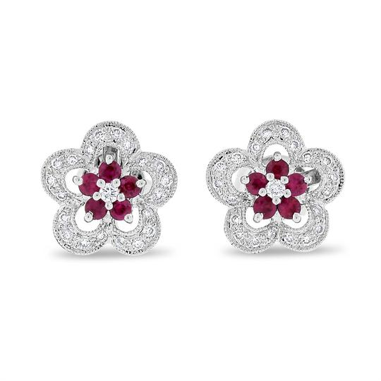Preload https://img-static.tradesy.com/item/20571030/063-ct-natural-diamond-and-ruby-flower-in-solid-14k-white-gold-earrings-0-0-540-540.jpg