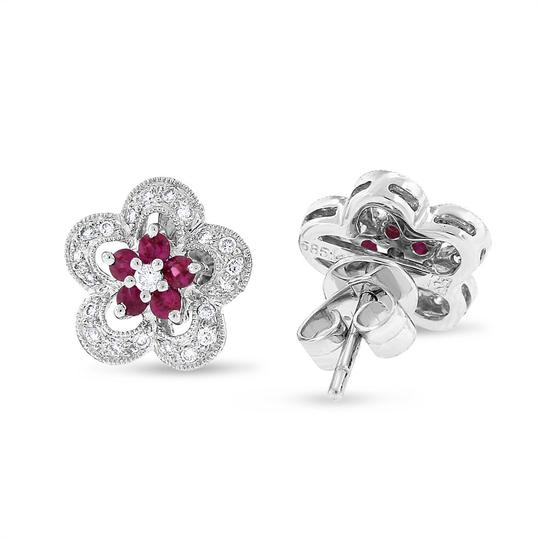 Other 0.63 CT Natural Diamond & Ruby Flower Earrings in Solid 14k White Gold