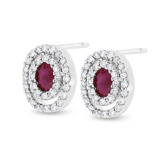 Other 1.05 CT Natural Diamond & Ruby Double Oval Halo Earrings in Solid 14k