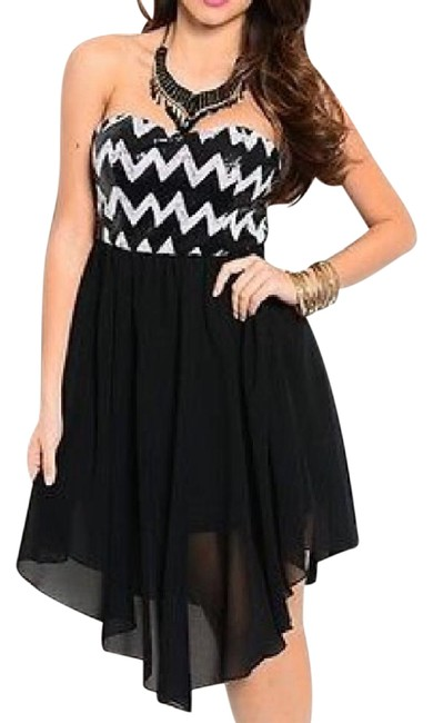 Preload https://img-static.tradesy.com/item/20571092/black-white-sequined-chevron-zigzag-sheer-chiffon-asymmetrical-open-short-cocktail-dress-size-8-m-0-1-650-650.jpg
