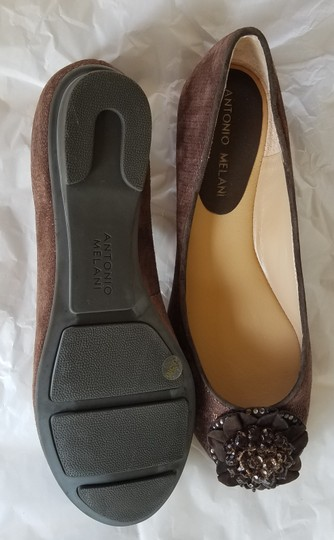 Antonio Melani Ballet Leather Sparkly Brown Flats