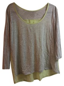 American Eagle Outfitters Chiffon Quarter Sleeve Top Gray and light green