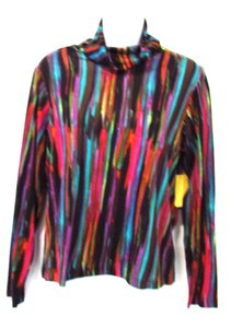 Lynn Ritchie Long Sleeve Turtleneck Knit Top Multi-Colored