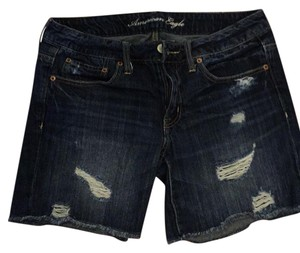 American Eagle Outfitters Cut Off Shorts dark rinse distressed