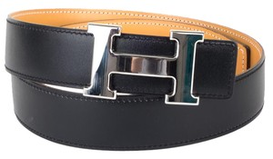 Hermès Hermes reversible black and tan leather belt with palladium