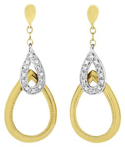 Other 0.10 CT Natural Diamond Drop Dangling Tear Drop Earrings in Solid 14k