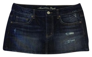 American Eagle Outfitters Mini Skirt dark rinse distressed