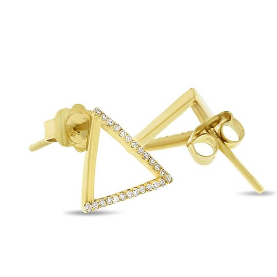 Other 0.20 Ct. Natural Diamond Triangle Earrings Solid 14k Yellow Gold