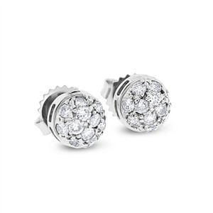 Other 0.66 Ct. Natural Diamond Dome Ball Stud Earrings in Solid 14k White