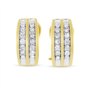 Other 0.56 Ct. Natural Diamond Double Row Huggie Earrings In Solid 14k