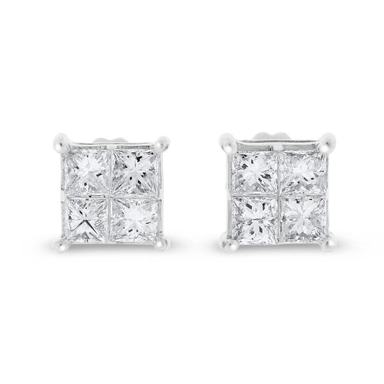 Other 1.02 Ct. Natural Diamond Princess Cut Square Earrings Screw Back In