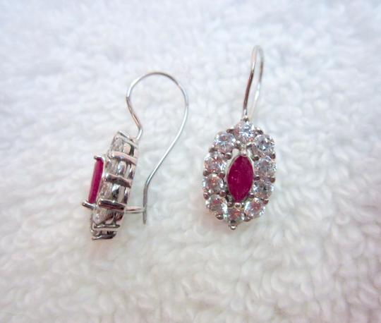 Other Sterling Silver CZ & Pink Crystal Oval Earrings Dangle Drop