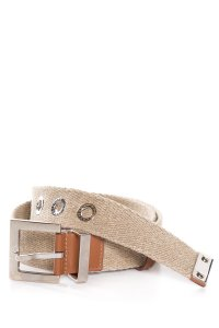 Dolce&Gabbana Dolce & Gabbana Tan Webbed Belt with Leather Trim