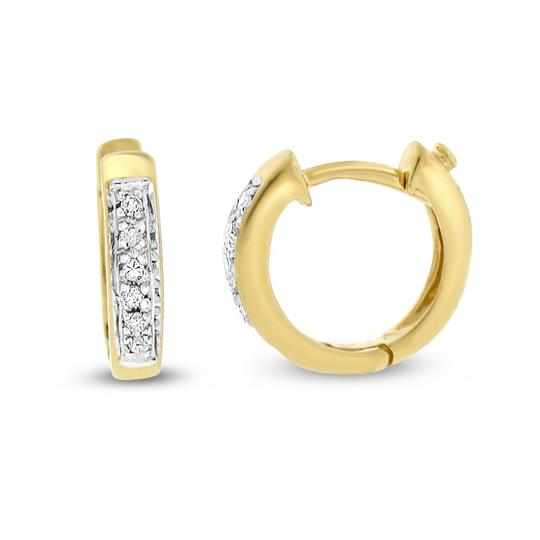 Other 0.10 Ct. Natural Small Diamond Huggie Earrings In Solid 14k Yellow