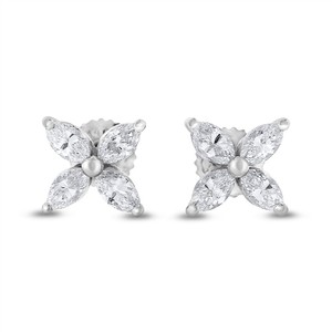 Other 1.02 Ct. Natural Diamond Marquise Flower Earrings Studs In Solid 14k