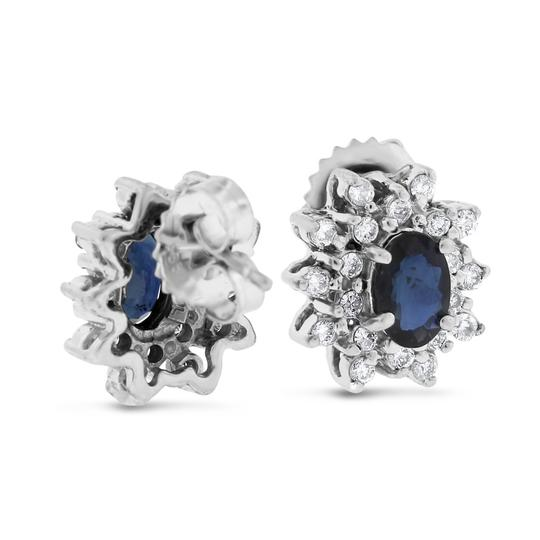 Other 1.70 Ct. Natural Diamond & Sapphire Fancy Earrings In Solid 14k White