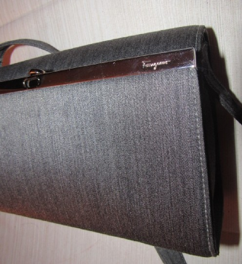 Salvatore Ferragamo Mint Vintage Dressy Or Casual Hard And Boxy Chrome Gancini Clasp 1960's Mod Style Shoulder Bag