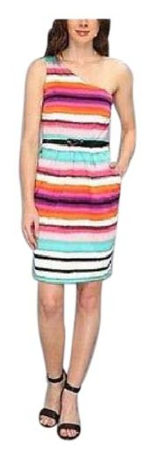 Preload https://item5.tradesy.com/images/london-times-multi-color-color-striped-one-shoulder-cotton-stretch-sheath-mid-length-short-casual-dr-20571424-0-1.jpg?width=400&height=650