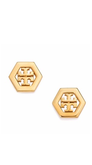 Tory Burch Logo Hexagon Stud Earrings Shiny Gold