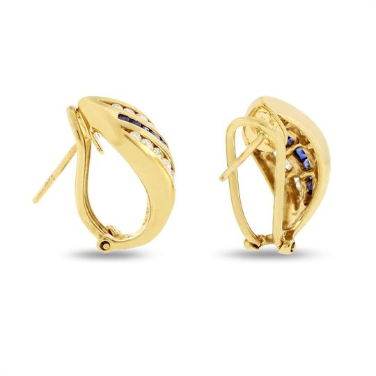 Other 0.92 Ct. Natural Diamond & Sapphire Twist Earrings In Solid 14k Yellow