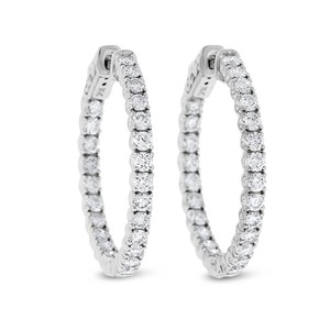 Other 1.66 Ct. Natural Diamond Hoop Earrings In Solid 14k White Gold 1