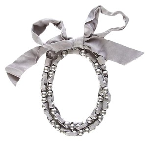 Lanvin Lanvin Grey Ribbon & Pearl Necklace