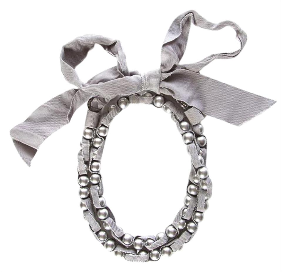 Lanvin Pearl Necklace: Lanvin Grey Ribbon & Pearl Necklace