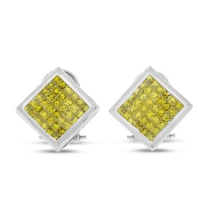 Other 1.50 Ct. Natural Irradiated Yellow Invisible Set Earring In Solid 14k