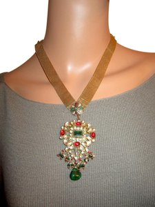 Other Moghal Mughal Gold Plated Necklace Glass Pearl Red Green Vintage