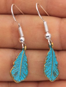 Patina Turquoise Feather Metal Earrings Free Shipping