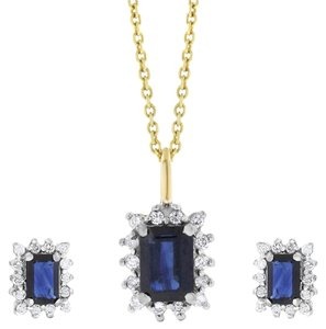 Other 2.95 Ct. Natural Diamonds & Sapphire Earrings & Pendant Set 14k Yellow